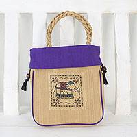 Cotton handle handbag, 'Graceful Elephant in Purple' - Elephant Cotton Handle Handbag in Purple from Thailand
