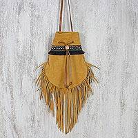 Suede shoulder bag, 'Chic Bohemian in Camel' - Chic Bohemian in Camel Drawstring Sling with Fringe