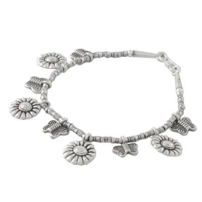 Butterfly and Sunflower Charm Karen Silver Beaded Bracelet