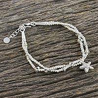 Silver beaded bracelet, 'Sea Bubbles' - Starfish Charm Double Strand Karen Silver Beaded Bracelet