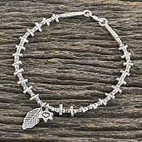 Silver beaded bracelet, 'Nature Aficionado' - Flower and Leaf Charm Karen Silver Beaded Bracelet