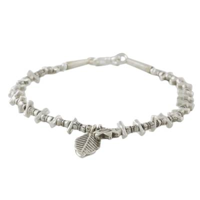 Flower and Leaf Charm Karen Silver Beaded Bracelet