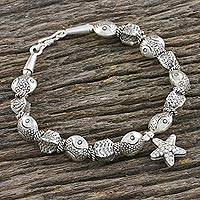 Silver beaded bracelet, 'Sea Charm' - Sea-Themed Starfish Charm Karen Silver Beaded Bracelet