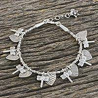 Silver beaded charm bracelet, 'Beloved Dragonflies' - Dragonfly and Heart Leaf Charm Karen Silver Beaded Bracelet