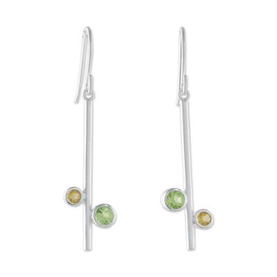 Peridot and citrine dangle earrings, 'Meeting of Worlds' - Modern Peridot and Citrine Earrings from Thailand