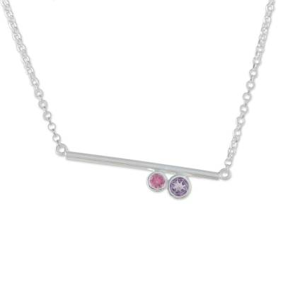 Amethyst and tourmaline pendant necklace, 'Modern Enchantment' - Modern Amethyst and Tourmaline Necklace from Thailand