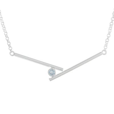 Blue topaz pendant necklace, 'Modern Cradle' - Modern Blue Topaz Pendant Necklace from Thailand