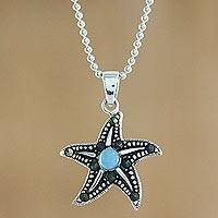 Larimar pendant necklace, 'Starfish at Night' - Larimar Marcasite Starfish Sterling Silver Pendant Necklace