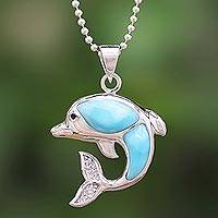 Larimar and topaz pendant necklace, 'Dolphin Leap' - Larimar and Sterling Silver Leaping Dolphin Pendant Necklace