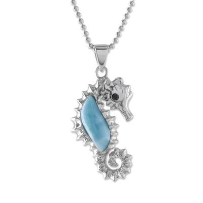 Larimar and Sterling Silver Seahorse Pendant Necklace