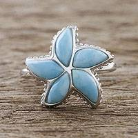 Larimar cocktail ring, 'Starfish Beauty' - Handcrafted Larimar Sterling Silver Starfish Cocktail Ring