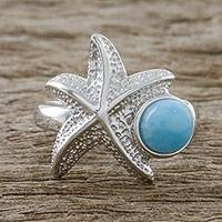 Larimar cocktail ring, 'Seaside Starfish' - Larimar and Textured Sterling Silver Starfish Cocktail Ring