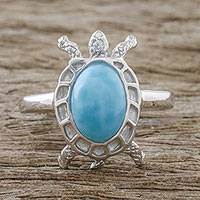 Larimar cocktail ring, 'Seaside Turtle' - Larimar and Textured Sterling Silver Turtle Cocktail Ring