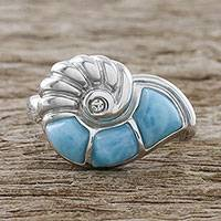 Larimar cocktail ring, 'Ocean's Call' - Handcrafted Larimar Sterling Silver Nautilus Cocktail Ring