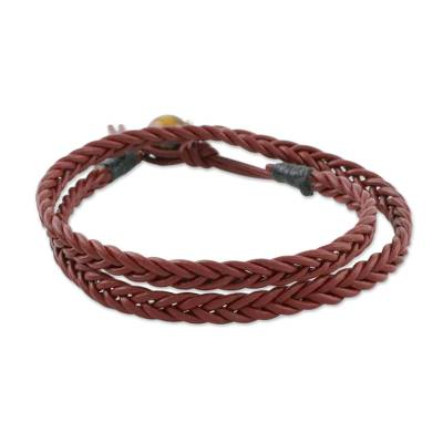 Men's tiger's eye wrap bracelet, 'Rustic Style' - Men's Tiger's Eye and Mahogany Braided Leather Wrap Bracelet