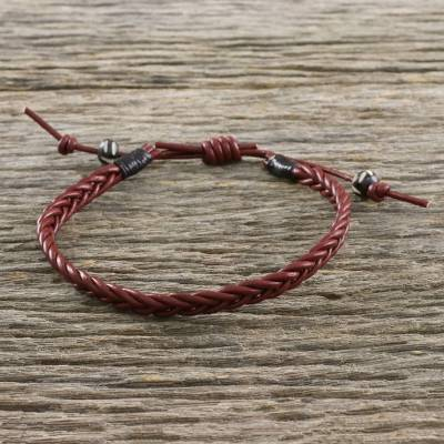 Men's leather wristband bracelet, 'Rustic Simplicity' - Men's Cow Bone Bead Mahogany Braided Leather Wrap Bracelet