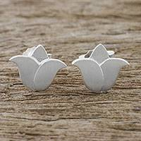 Sterling silver stud earrings, 'Lovely Tulips' - Sterling Silver Tulip Stud Earrings from Thailand