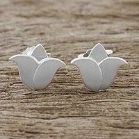 Sterling silver stud earrings, 'Lovely Tulips'