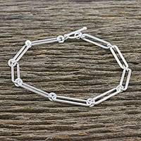 Sterling silver link bracelet, 'Cool Shine' (large) - Sterling Silver Link Bracelet from Thailand