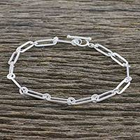 Sterling silver link bracelet, 'Cool Shine' (small) - Brushed-Satin Sterling Silver Link Bracelet from Thailand