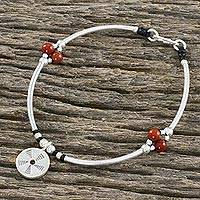 Jasper beaded charm bracelet, 'Captured Energy' - Jasper Bead and Hill Tribe Silver Disc Charm Bracelet