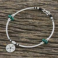 Malachite beaded charm bracelet, 'Harnessed Energy' - Malachite Bead and Hill Tribe Silver Disc Charm Bracelet