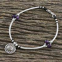 Amethyst beaded charm bracelet, 'Explore' - Amethyst Bead and Hill Tribe Silver Charm Bracelet