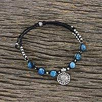 Apatite beaded bracelet, 'Brilliant Sky' - Apatite and Hill Tribe Silver Bead Textured Charm Bracelet