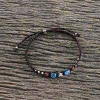 Apatite and jasper wristband bracelet, 'Surf's Edge' - Apatite and Jasper Hill Tribe Silver Wristband Bracelet