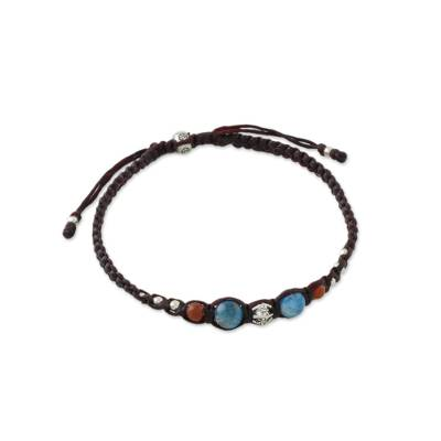 Apatite and jasper beaded wristband bracelet, 'Surf's Edge' - Apatite and Jasper Hill Tribe Silver Wristband Bracelet