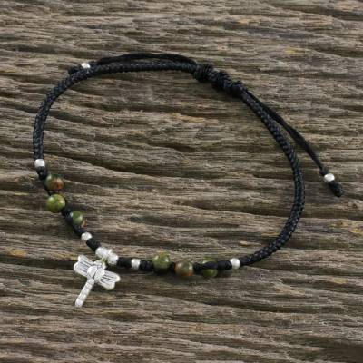 9a938c7f2a4 UNICEF Market | Unakite and Hill Tribe Silver Dragonfly Charm Bracelet -  Soar in Green