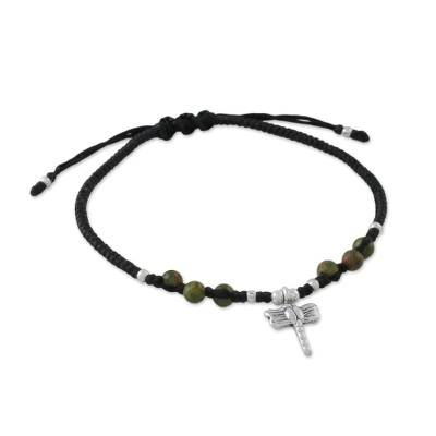 Unakite beaded charm bracelet, 'Soar in Green' - Unakite and Hill Tribe Silver Dragonfly Charm Bracelet
