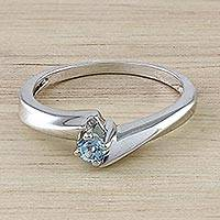 Blue topaz solitaire ring, 'Pretty Twist' - Blue Topaz and Sterling Silver Solitaire Ring from Thailand