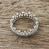 Sterling silver band ring, 'Gleaming Crown' - Crown-Shaped Sterling Silver and CZ Band Ring from Thailand