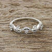 Sterling silver band ring, 'Innocent Garden' - Wavy Sterling Silver and CZ Band Ring from Thailand