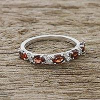 Garnet band ring, 'Fiery Personality' - Garnet and CZ Band Ring Crafted in Thailand