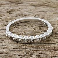 Sterling silver band ring, 'Sparkling Bubbles' - Bubble Motif Sterling Silver and CZ Ring from Thailand