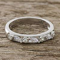 Sterling silver band ring, 'Feminine Dazzle' - Sterling Silver Band Ring with CZ from Thailand