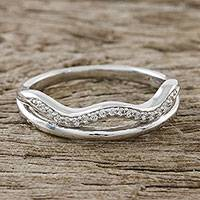 Sterling silver band ring, 'Dazzling Waves' - Wavy Sterling Silver Band Ring with CZ from Thailand