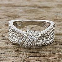 Sterling silver band ring, 'Beautiful Knot' - Sterling Silver and CZ Band Ring Crafted in Thailand