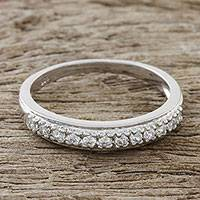 Sterling silver band ring, 'Simple Dazzle' - Dazzling Sterling Silver and CZ Band Ring from Thailand