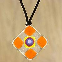Art glass pendant necklace, 'Tangerine Treat' - Orange and Multi-Color Geometric Art Glass Pendant Necklace