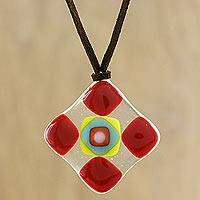 Art glass pendant necklace, 'Scarlet Treat' - Red and Multi-Color Geometric Art Glass Pendant Necklace