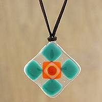 Art glass pendant necklace, 'Sea Green Treat' - Green and Multi-Color Geometric Art Glass Pendant Necklace
