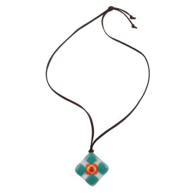 Green and Multi-Color Geometric Art Glass Pendant Necklace