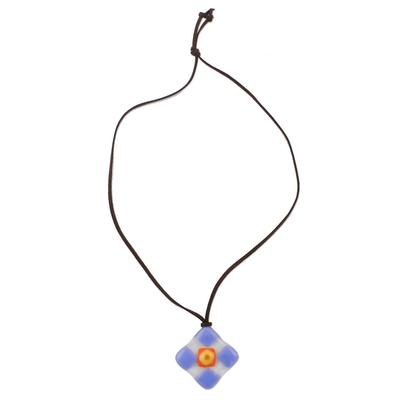Blue and Multi-Color Geometric Art Glass Pendant Necklace