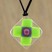 Art glass pendant necklace, 'Lime Cross' - Lime Green Geometric Cross Art Glass Pendant Necklace