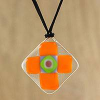 Art glass pendant necklace, 'Tangerine Cross' - Tangerine Orange Geometric Cross Art Glass Pendant Necklace