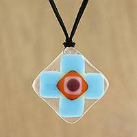 Art glass pendant necklace, 'Sky Cross' - Sky Blue and Red Geometric Cross Art Glass Pendant Necklace
