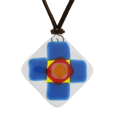 Cerulean Blue Geometric Cross Art Glass Pendant Necklace